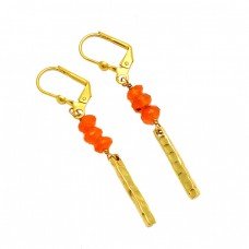 Carnelian Roundel Beads Shape Gemstone 925 Silver Gold Plated Clip-On Earrings