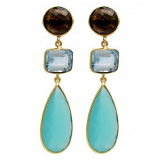 Smoky Quartz Topaz chalcedony Gemstone 925 Silver Gold Plated Stud Earrings
