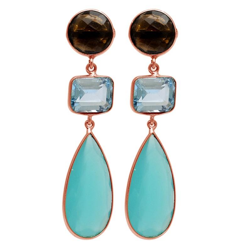 Smoky Quartz Topaz chalcedony Gemstone 925 Silver Gold Plated Stud Earrings