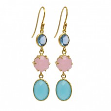 925 Sterling Silver Chalcedony Topaz Gemstone Gold Plated Dangle Handmade Earrings