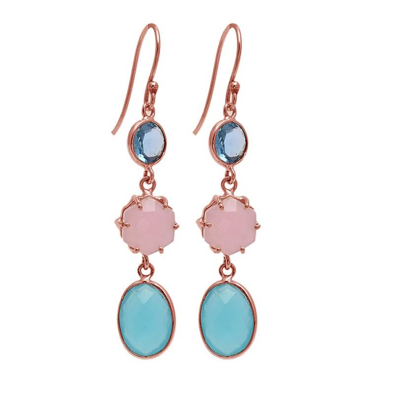 925 Sterling Silver Chalcedony Topaz Gemstone Gold Plated Dangle Handmade Earrings