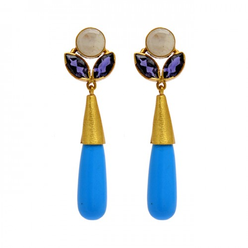 925 Sterling Silver Moonstone Chalcedony Amethyst Gemstone Gold Plated Earrings
