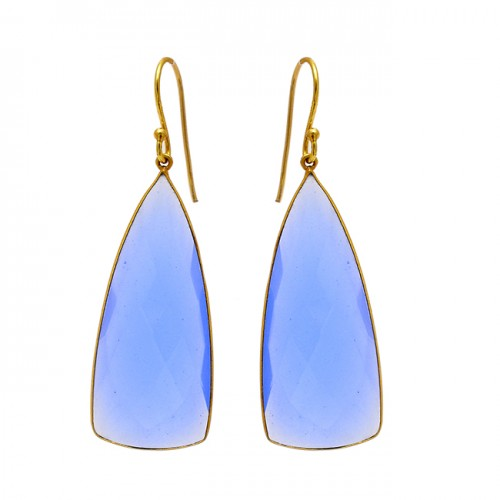Blue Chalcedony Triangle Shape Gemstone 925 Sterling Silver Gold Plated Earrings