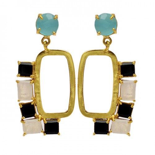 Onyx Chalcedony Moonstone 925 Sterling Silver Gold Plated Dangle Stud Earrings