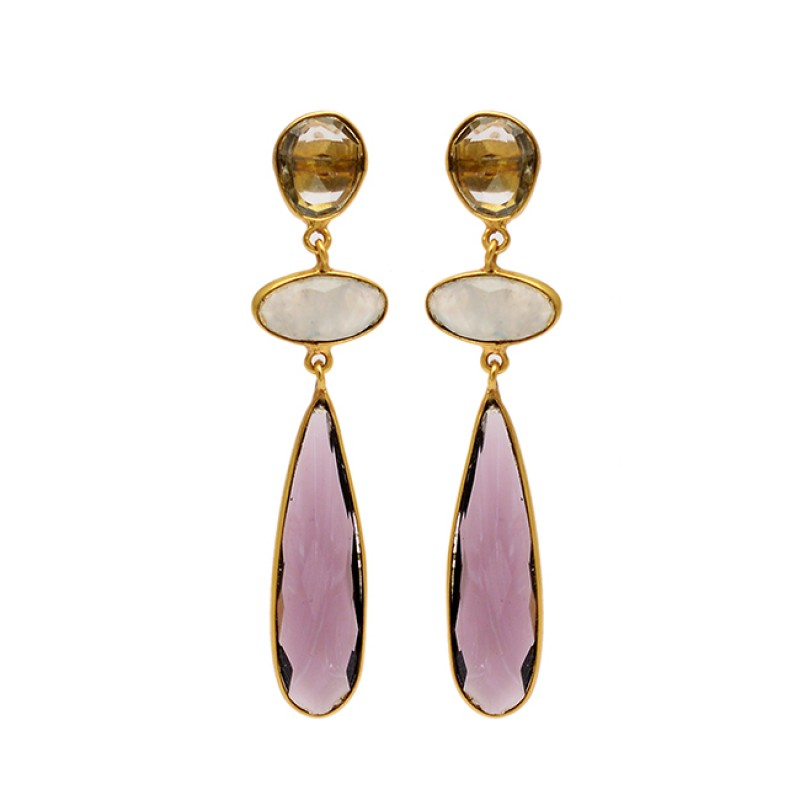 925 Sterling Silver Amethyst Smoky Quartz Moonstone Gold Plated Stud Earrings