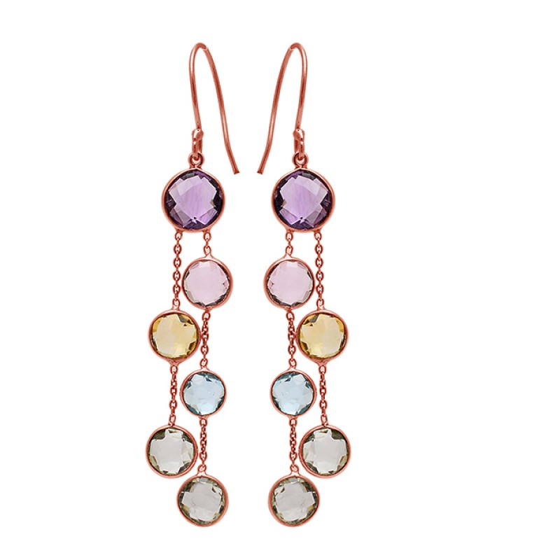 925 Sterling Silver Round Shape Gemstone Gold Plated Hanging Chain Earrings