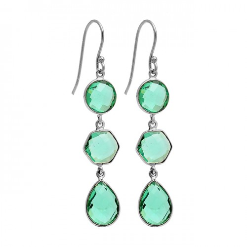 Green Apatite Gemstone 925 Sterling Silver Gold Plated Dangle Earrings