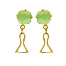 Prehnite Chalcedony Gemstone 925 Sterling Silver Gold Plated Stud Dangle Earrings