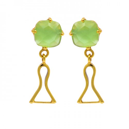 Prehnite Chalcedony Gemstone 925 Sterling Silver Gold Plated Stud Dangle Earrings