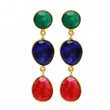 925 Sterling Silver Emerald Ruby Sapphire Gemstone Gold Plated Stud Dangle Earrings