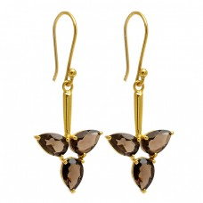 Smoky Quartz Pear Shape Gemstone 925 Sterling Silver Gold Plated Dangle Earrings
