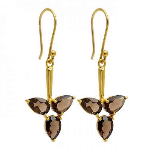 Smoky Quartz Pear Shape Gemstone 925 Sterling Silver Gold Plated Dangle Earrings