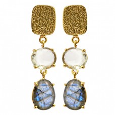 Crystal Labradorite Gemstone 925 Sterling Silver Gold Plated Dangle Stud Earrings