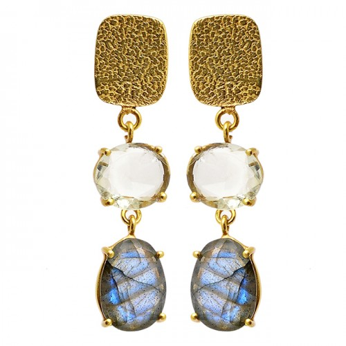 Crystal Labradorite Gemstone 925 Sterling Silver Gold Plated Dangle Stud Earrings