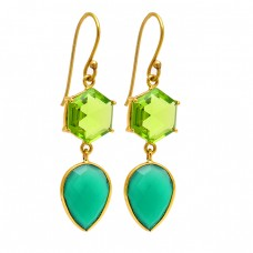 925 Sterling Silver Peridot Chrysoprase Gemstone Gold Plated Dangle Earrings