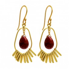 Pear Shape Ruby Gemstone 925 Sterling Silver Gold Plated Dangle Earrings