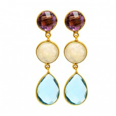 Amethyst Moonstone Topaz Gemstone 925 Sterling Silver Gold Plated Stud Earrings