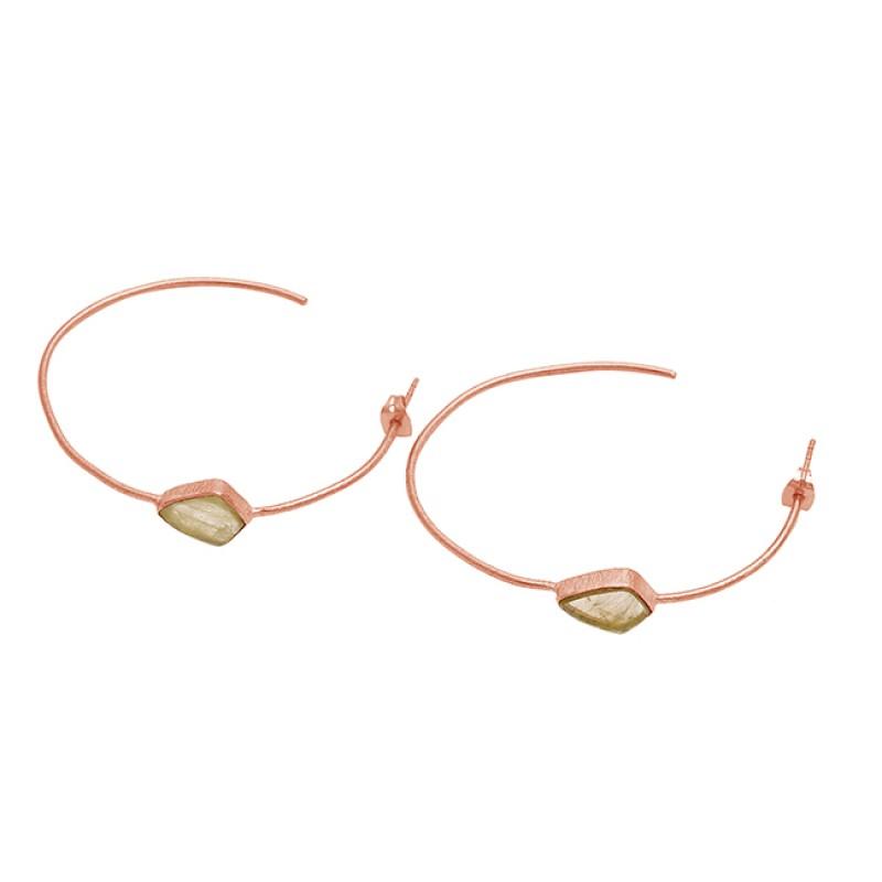 Fancy Shape Golden Rutile Quartz Gemstone 925 Silver Gold Plated Hoop Earrings