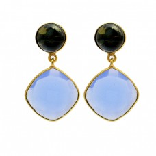 Cushion Round Shape Gemstone 925 Sterling Silver Gold Plated Stud Dangle Earrings