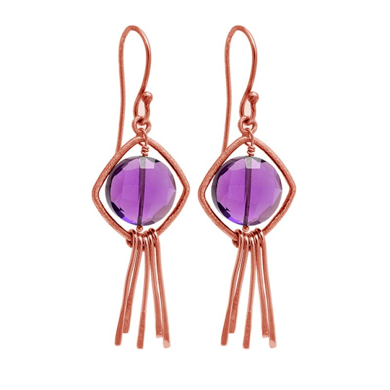 Amethyst Round Shape Gemstone 925 Sterling Silver Gold Plated Dangle Earrings