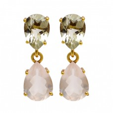 Green Amethyst Rose Quartz Gemstone 925 Sterling Silver Gold Plated Stud Earrings