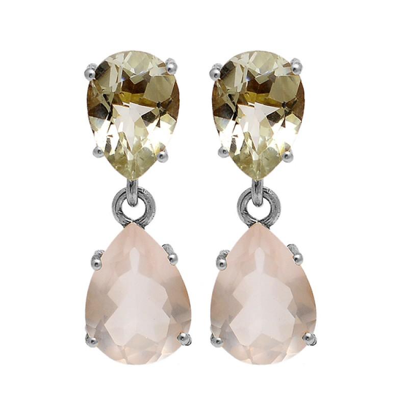 Green Amethyst Rose Quartz Gemstone 925 Sterling Silver Gold Plated Stud Earrings