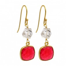 Ruby Herkimer Diamond Gemstone 925 Sterling Silver Gold Plated Dangle Earrings
