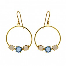 Moonstone Blue Quartz Gemstone 925 Sterling Silver Gold Plated Dangle Earrings