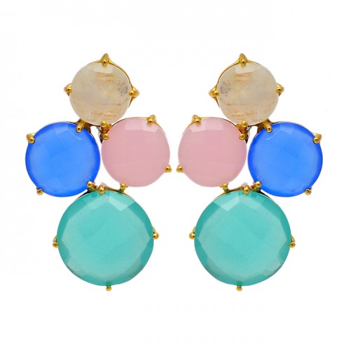 925 Sterling Silver Moonstone Chalcedony Gemstone Gold Plated Stud Earrings