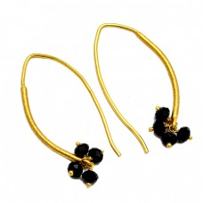 Black Onyx Roundel Beads Shape Gemstone 925 Sterling Silver Gold Plated Hoop Earrings