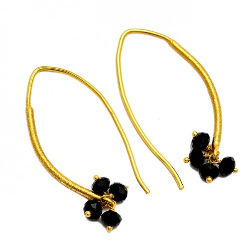 Black Onyx Roundel Beads Shape Gemstone 925 Sterling Silver Gold Plated Hoop Earrings