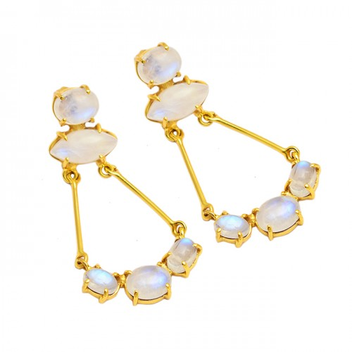 Rainbow Moonstone 925 Sterling Silver Gold Plated Handmade Dangle Earrings