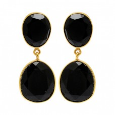 Bezel Setting Oval Shape Black Onyx Gemstone 925 Silver Gold Plated Stud Earrings