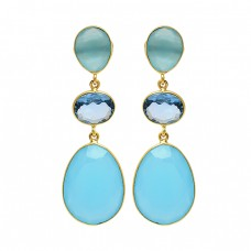 925 Sterling Silver Blue Topaz Chalcedony Gemstone Gold Plated Dangle Stud Earrings