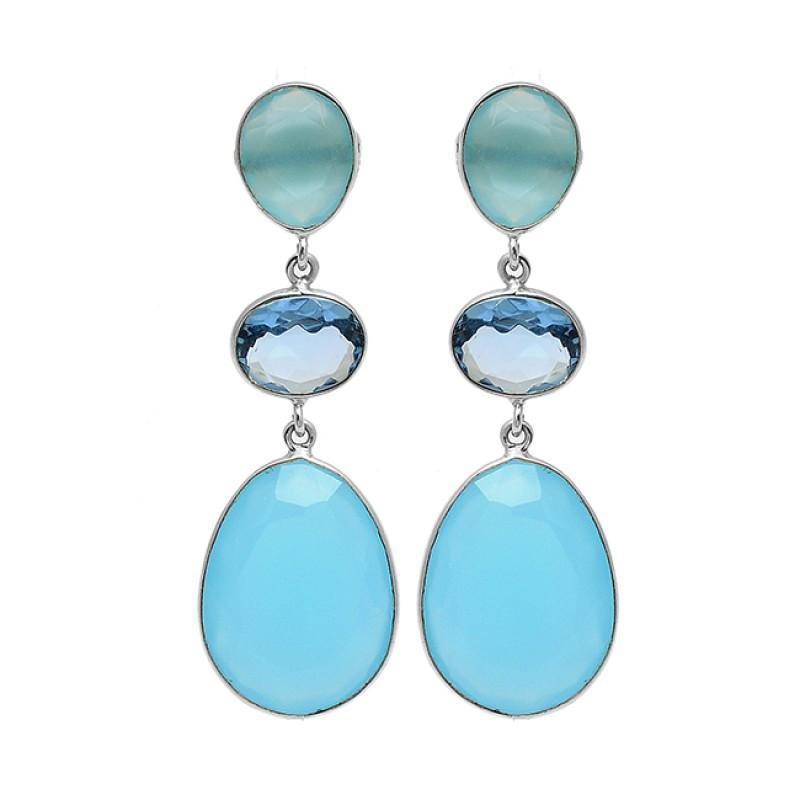 925 Sterling Silver Blue Topaz Chalcedony Gemstone Gold Plated Dangle Stud Earrings