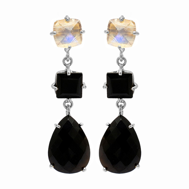 Black Onyx Moonstone Gemstone 925 Sterling Silver Gold Plated Stud Dangle Earrings