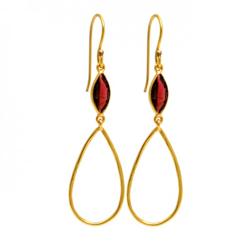 Garnet Marquise Shape Gemstone 925 Sterling Silver Gold Plated Dangle Earrings