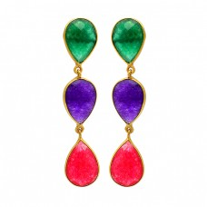 925 Sterling Silver Emerald Amethyst Ruby Gemstone Gold Plated Stud Earrings
