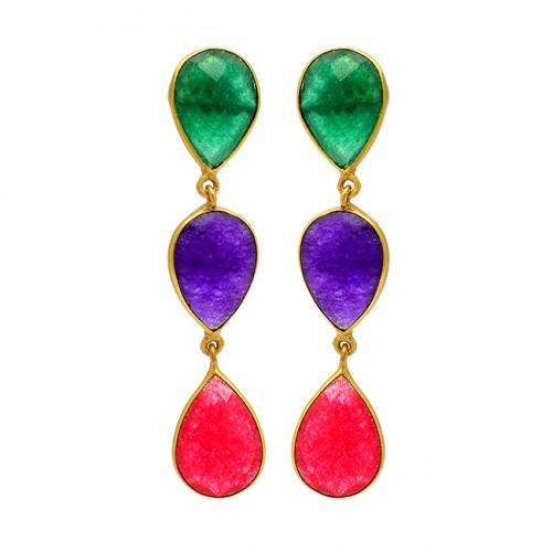 925 Sterling Silver Emerald Amethyst Ruby Gemstone Gold Plated Stud Earrings