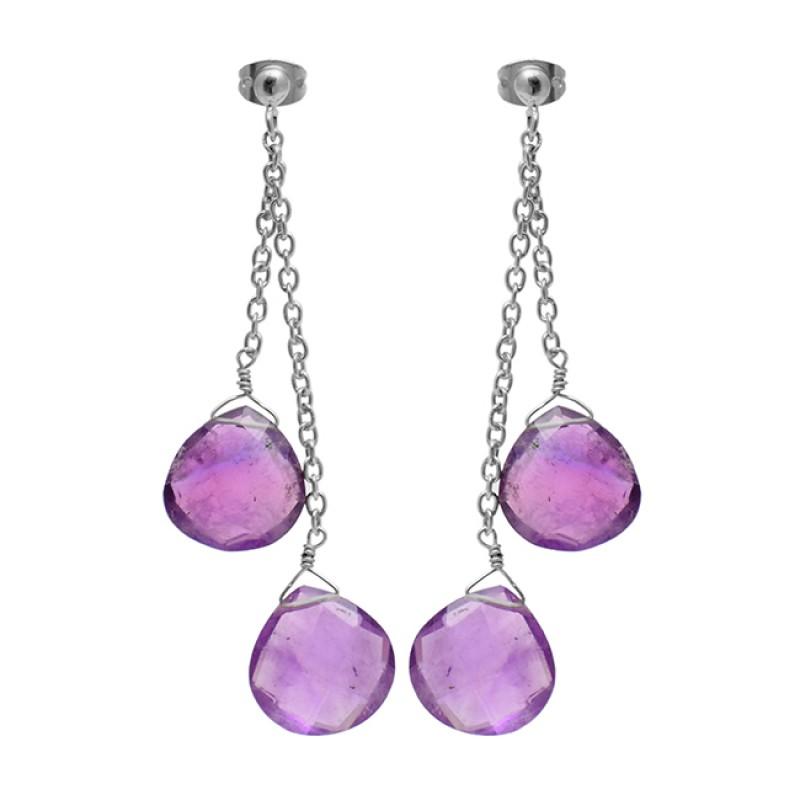 Hanging Chain Purple Amethyst Heart Shape Gemstone Handmade Gold Plated Stud Earrings