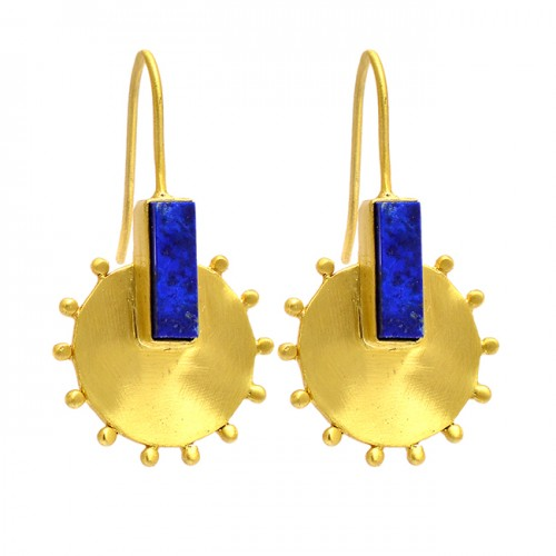 Rectangle Shape Lapis Lazuli Gemstone 925 Sterling Silver Gold Plated Earrings