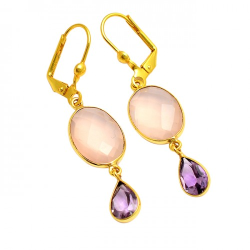 Rose Quartz Amethyst Gemstone 925 Sterling Silver Gold Plated Clip-On Earrings