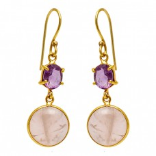 Amethyst Rose Quartz Gemstone 925 Sterling Silver Gold Plated Dangle Earrings