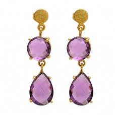 Amethyst Round Pear Shape Gemstone 925 Sterling Silver Gold Plated Stud Earrings