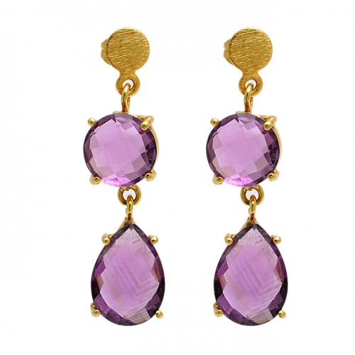 Amethyst Round Pear Shape Gemstone 925 Sterling Silver Gold Plated Stud Earrings