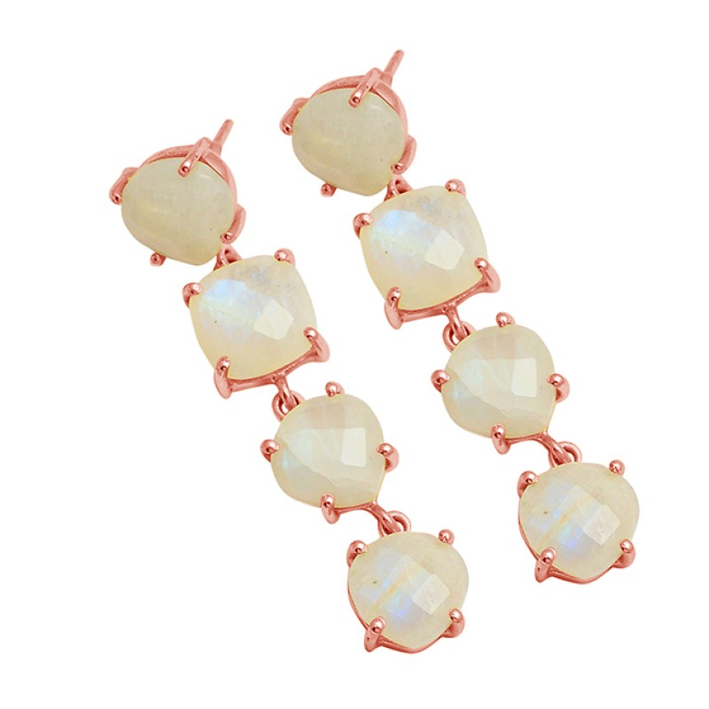 Round Square Shape Moonstone 925 Sterling Silver Gold Plated Stud Dangle Earrings