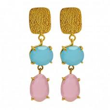 Oval Shape Chalcedony Gemstone 925 Sterling Silver Gold Plated Stud Earrings