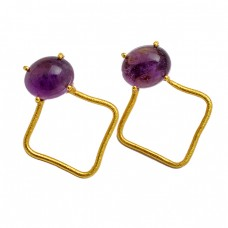 Oval Cabochon Amethyst Gemstone 925 Sterling Silver Gold Plated Stud Earrings