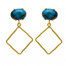 Blue Copper Turquoise Gemstone 925 Sterling Silver Gold Plated Stud Dangle Earrings