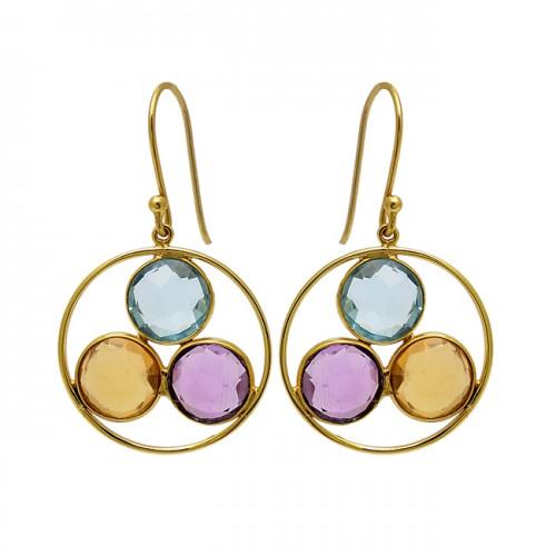 Amethyst Topaz Citrine Gemstone 925 Sterling Silver Gold Plated Dangle Earrings